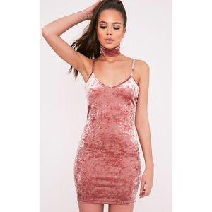 Zarah Dusty Pink Velvet Choker Neck Bodycon Dress